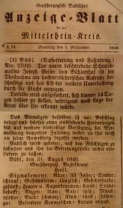 Fahndungsaufruf im Anzeige-Blatt für den Mittelrheinkreis Nr. 99 vom 12.12.1849