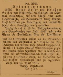 Baubekanntgabe des Bezirksmates Bühl 19.03.1870